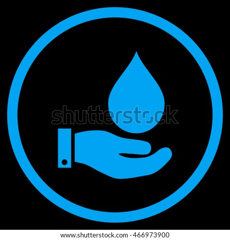 Water Service vector icon. Style is flat rounded iconic symbol, water service icon is drawn with blue color on a black background.