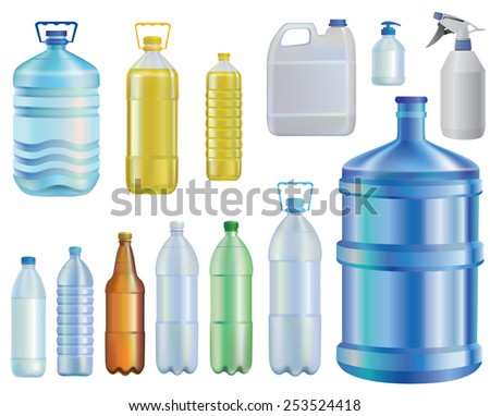 Water.set of different bottles. Oil.A liquid capacity.soap.beer.  - stock vector