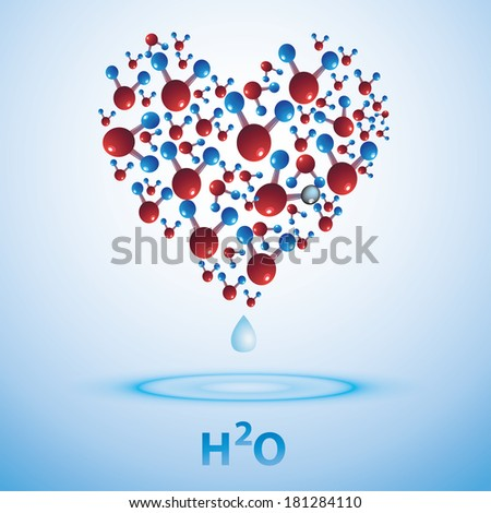 Water sign in the shape of heart. H2O. Template ideas for design. - stock vector