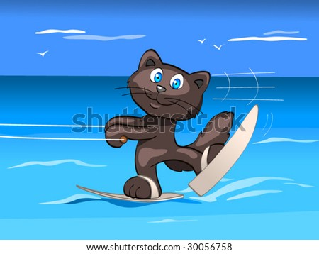 water skis - boy - stock vector
