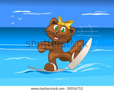 water skis - girl - stock vector