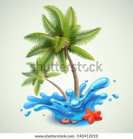 Water splash with palms - stock vector