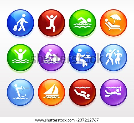 Water Sport and Recreation Vector Button Set