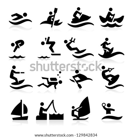 Water Sport Icons - stock vector