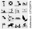 Water Sport Icons. sports icon collection - stock photo