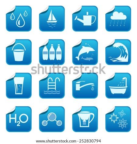 Water stickers - stock vector