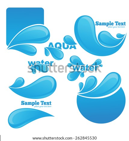 water stickers and symbols for your text - stock vector