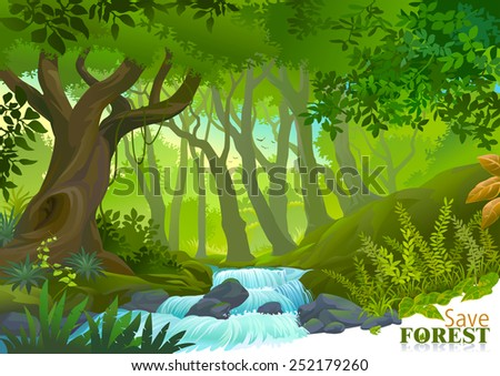 Water stream in lush green tropical rain forest  - stock vector