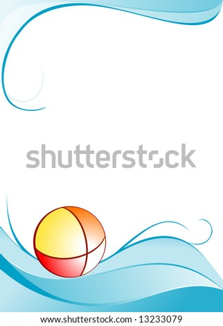 Water summer background with ball - stock vector