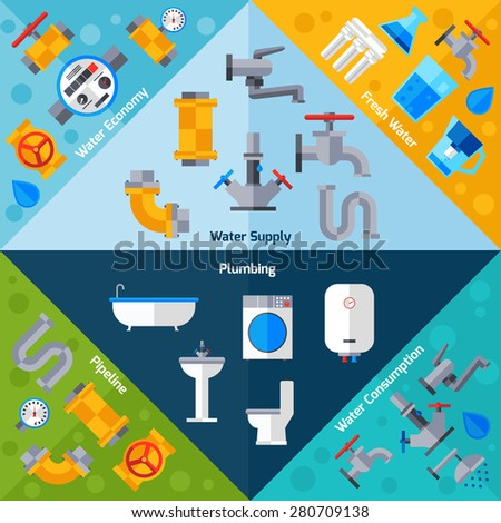 Water supply corners set with plumbing pipeline and bathroom accessories isolated vector illustration - stock vector