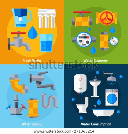 Water supply design concept set with economy and consumption flat icons isolated vector illustration - stock vector