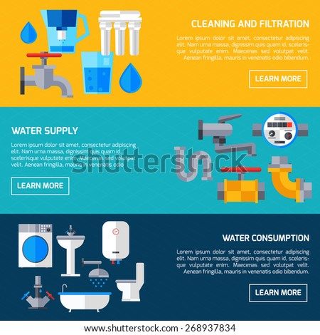 Water supply economy and consumption horizontal banners set isolated vector illustration - stock vector