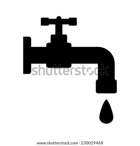 Water tap icon on white background. Vector illustration. - stock vector