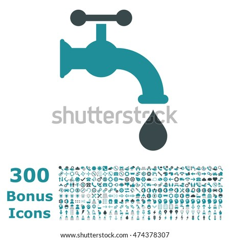 Water Tap icon with 300 bonus icons. Vector illustration style is flat iconic bicolor symbols, soft blue colors, white background.