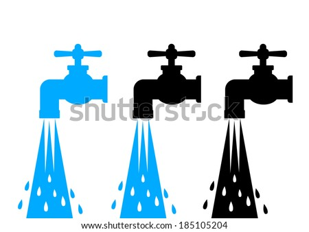 Water tap icons - stock vector