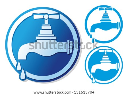 water tap symbol (water faucet sign, dripping tap icon, faucet tap with water drop) - stock vector
