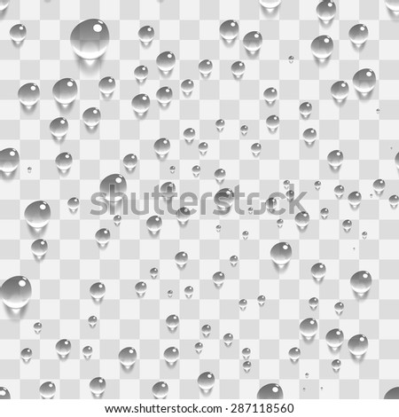 Water Transparent Drops Seamless Pattern Background. Vector Illustration - stock vector