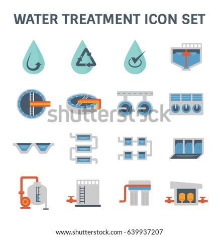 Water treatment plant and water filter vector icon set design.