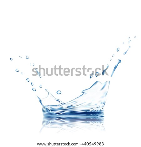 water vector ripple with reflection. blue water splash isolated vector with water drops. 3d illustration. Water splash surface background created with gradient mesh tool.