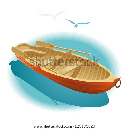 Water walk on boat. Illustration of wooden boat for a romantic rendezvous on the water. - stock vector