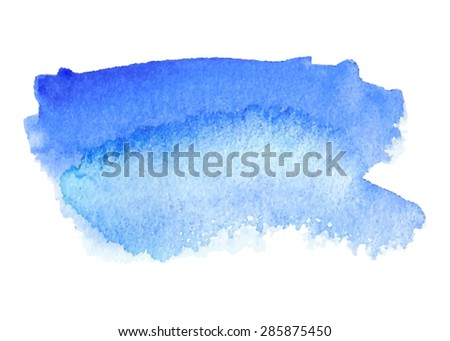 Water watercolor blue violet hand drawn paper texture isolated stain on white background. Wet brush painted smudges abstract vector smear illustration. Design element for banner, print, template, web - stock vector