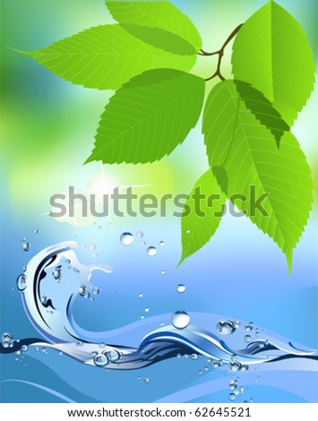 Water Wave and leaves. All elements and textures are individual objects. Vector illustration scale to any size. - stock vector