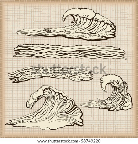 Water wave set - part two - stock vector