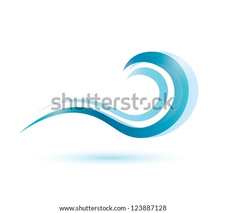 water wave symbol, isolated vector icon - stock vector