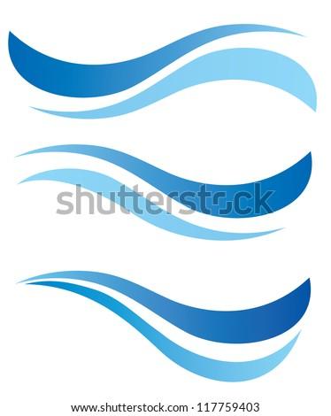 water waves design elements vector set
