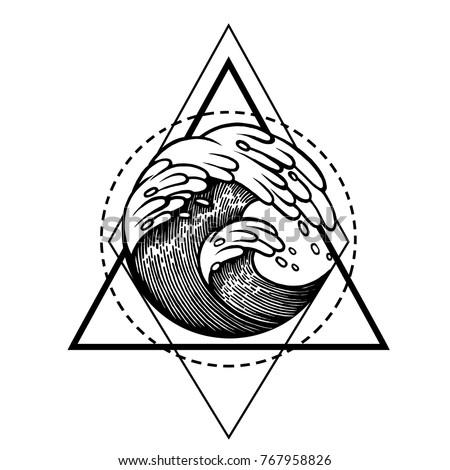 Water Waves Water Sacred Geometry Frame Stock Vector Royalty Free