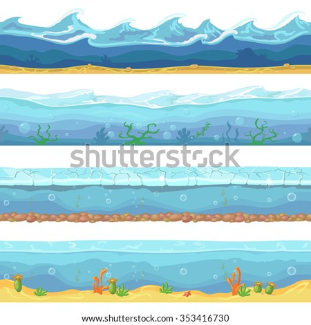 Water waves  or ocean, sea seamless vector backgrounds set for ui game design in cartoon style. Graphic  Interface.  Nature storm flow illustration - stock vector