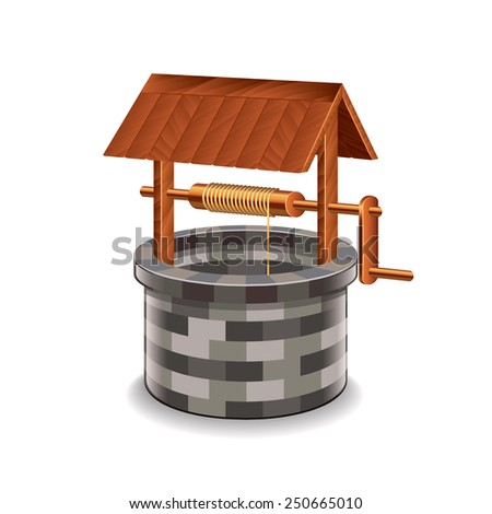 Water well isolated on white photo-realistic vector illustration - stock vector