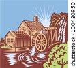 Water Wheel Mill House Retro - stock vector