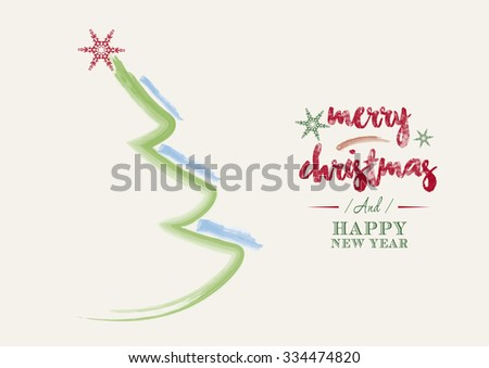 Watercolor abstract christmas tree with typography - stock vector