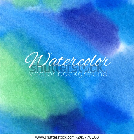 Watercolor abstract colorful textured background. Vector illustration - stock vector