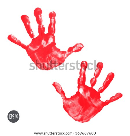 Watercolor / acrylic red kids handprints isolated on white background. Isolated children / adult palm print. Kids crafts. Vector eps 10 illustration
