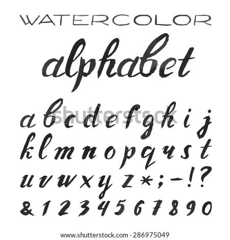 Watercolor Alphabet Painted Vector Font handpainted Black Stock