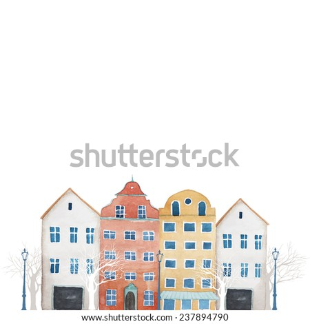 Watercolor Amsterdam street border. Hand drawn isolated illustration in vector with buildings, trees, lamps. - stock vector