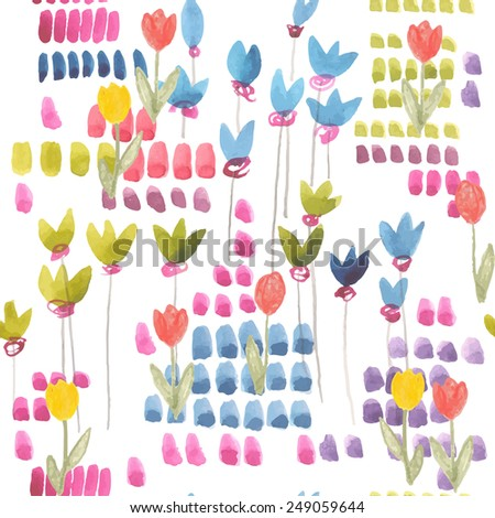 watercolor and sketch seamless pattern with flowers tulip