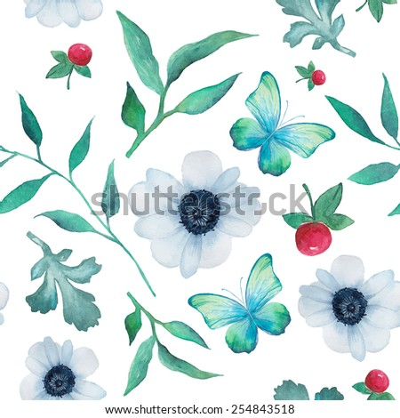 Watercolor anemone and butterfly pattern. Seamless texture with hand painted natural objects: blue butterfly, herbal branch with leaves, berry and flowers. Vector summer background - stock vector