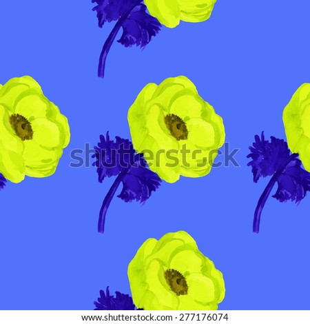 watercolor anemone seamless pattern.hand drawn.vector eps 8. - stock vector