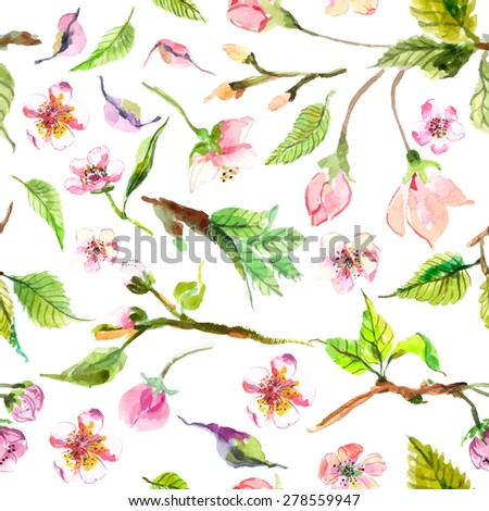 Watercolor apple flowers seamless pattern, beautiful background for design