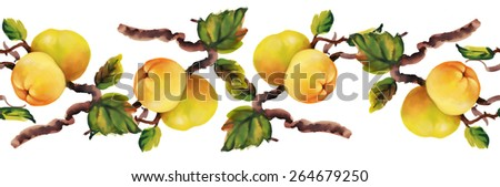 Watercolor apples painting on tree seamless pattern on white background vector illustration - stock vector