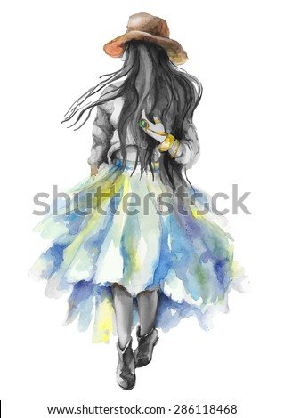 Watercolor artwork with a walking girl. Boho style. Gray scale stylization. Hand drawn vector illustration - stock vector
