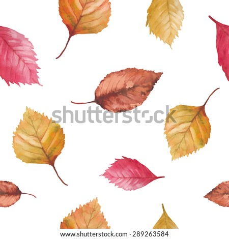 Watercolor autumn leaves seamless pattern. Hand drawn red, brown and yellow tree leaves isolated on white background. Natural artistic vector texture - stock vector