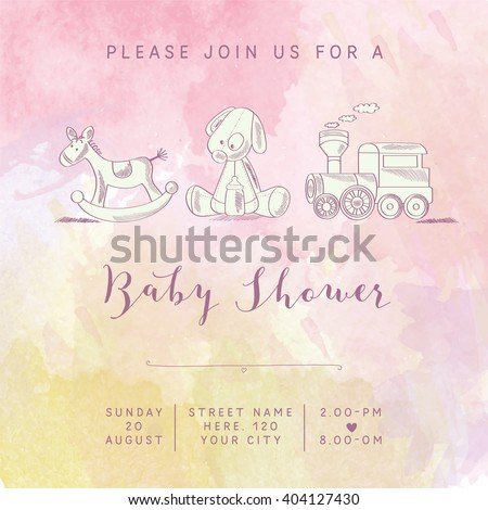 watercolor baby girl shower card with retro toys, vector illustration