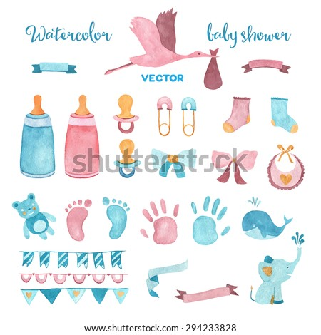 Watercolor baby shower vector set of design elements. - stock vector