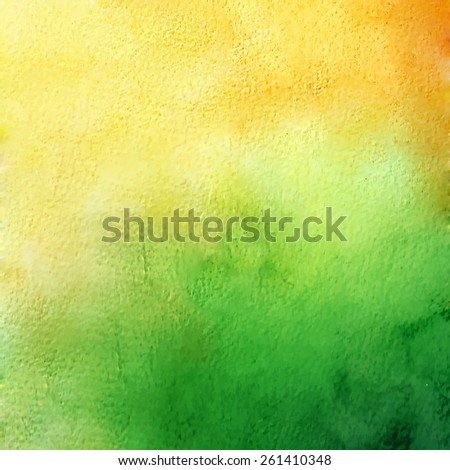 Watercolor background. Green and yellow. - stock vector