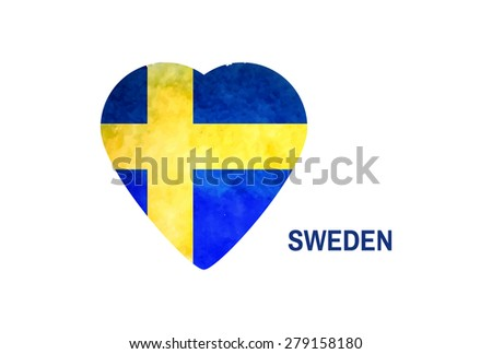 watercolor background in colors of national flag of Sweden. I love Sweden - stock vector