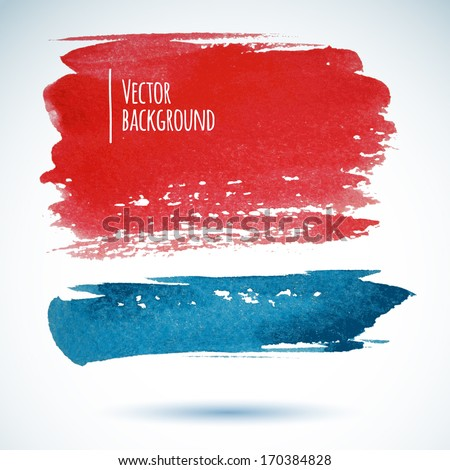 Watercolor background. Red and Blue wet brushstroke banners and shadow - stock vector
